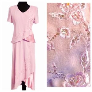 Pink Embroidered Skirt and Blouse Set